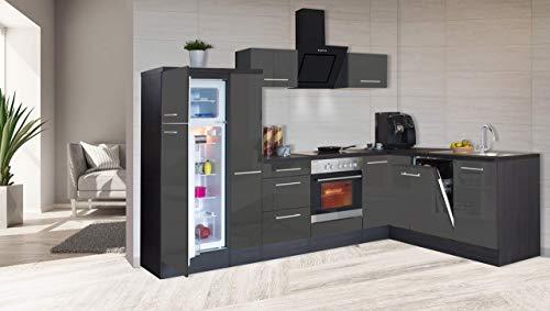 respekta Kątownik kuchenny kuchnia w kształcie litery L kuchnia dąb szary wysoki połysk 290 x 200 cm