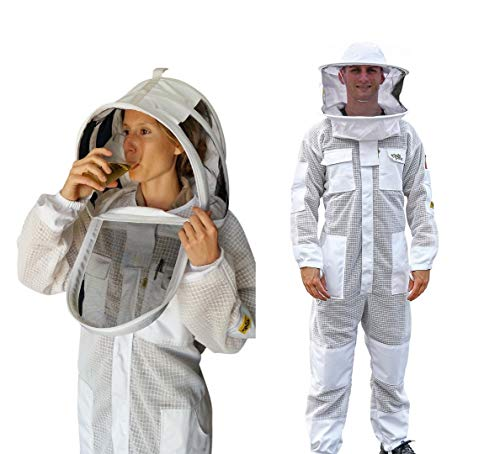 Oz Armour Beekeeping Suit Ventilated Super Cool Air Mesh with Fencing & Round Brim Hat (Large)...