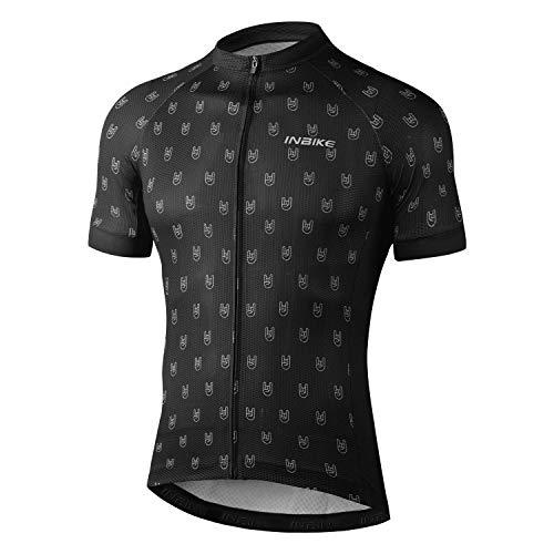INBIKE Fahrradtrikot Herren Radtrikot Fahrradbekleidung Kurzarm aus Angenehm Atmungsaktiv Stoff Sommer Trikot für Fahrrad Rennrad Laufen Schwarz XL