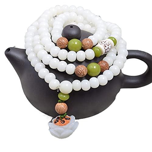 JONJUMP Pulsera de raíz Bodhi de jade blanco natural para hombres y mujeres