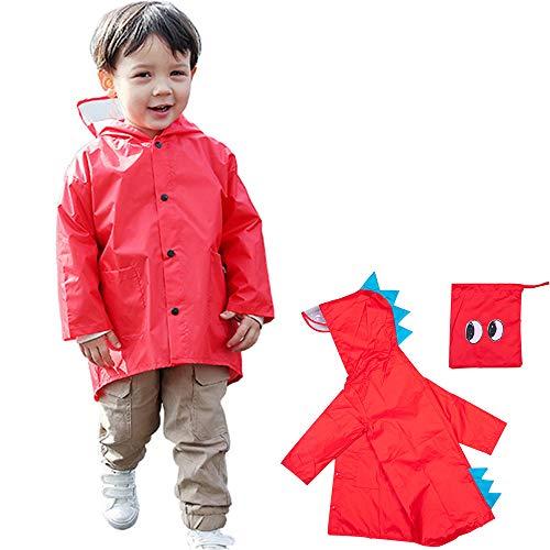 Impermeable niño unisex capa de lluvia Ponchos chicos niñas abrigo impermeable con capucha y visera Raincoat para escuela senderismo Camping viaje 2 – 6 años