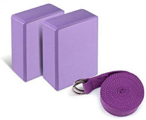 Yoga Foam Blocks Set of 2 plus strap with Metal DRing Ecofriendly EVA Foam Brick Standard Studio Size 9quot x 6quot x 4quot
