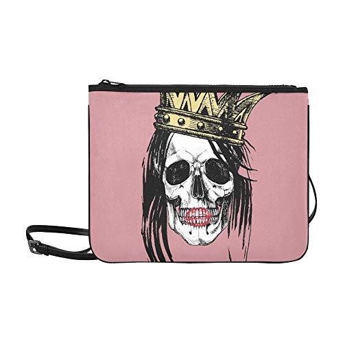 WYYWCY Königin Tod Porträt Schädel Krone lange benutzerdefinierte hochwertige Nylon dünne Clutch Cross Body Bag Schultertasche