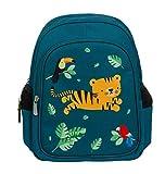 A Little Lovely Company Mochila Jungle Tiger, Azul, Verde, Mediano