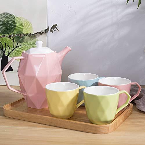 geen logo Huishoudelijke water set Europese stijl keramische beker set verse huishoudelijke keramische beker snoep kleur theepot set middag thee koud water cadeau