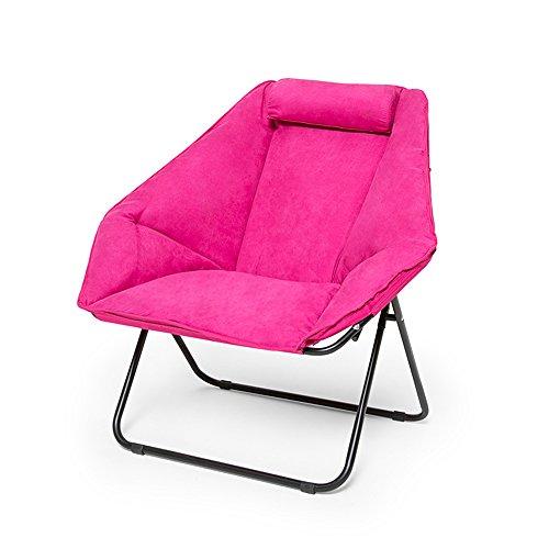Chaise Longue Chaises pliantes en daim épais Casual Chaises plagées Ordinateurs de bureau Chaises de sofa Chaises de plage (Couleur : Rose)