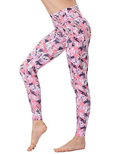 FLYILY Frauen Yoga Pants Gedruckt hohe Taillen-Power Flex Capris Workout Gamaschen für Fitness Laufen(Pink,XL