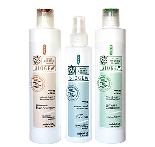Dr ROSS' BIOGEM Clinically Proven Hair Loss Hair Care Set: Shampoo, Conditioner 10 Ounces, Treatment 6 Ounces for Oily Scalp Safety, Efficacy Test 100 Percent Stopped Balding by FDA, QVC Certified Lab
