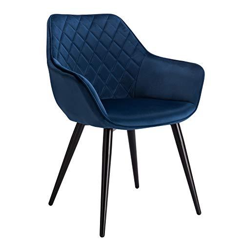 WOLTU Esszimmerstühle BH153bl-1 1x Küchenstuhl Wohnzimmerstuhl Polsterstuhl mit Armlehen Design Stuhl Samt Metall Blau