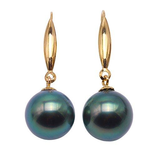 jyx 18K 9Mm pavo real verde agua salada de Tahití perla pendientes colgantes