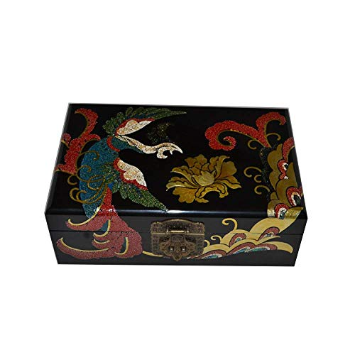 ALIANG Cajas de joyeríaCaja de Almacenamiento China de Madera Pingyao Push Laca Ware Artesanía Caja de Almacenamiento de joyería Laca Phoenix Play Peony Regalo de cumpleaños