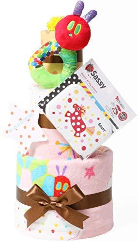 はらぺこあおむし おむつケーキ 出産祝い 名入れ刺繍 3段 Sassy ビタット Bitatto 身長計付き バスタオル ピンク 女の子 オムツケーキ ERIC CARLE エリックカール メリーズパンツタイプMサイズ