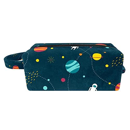 Bolso de Cosméticos de Viaje Planetas Alien Earth Bolsa de Lavar Portátil Organizador de Cosméticos Impresión Billetera Pequeña para Mujeres Niñas Niños 21x8x9 cm