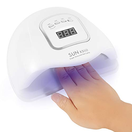 Lampada LED Unghie 120W SUN X5 MAX Lampada UV 45 LED per Manicure Strumento,4 Timers da 10s/30s/60s/99s,Base Rimovibile, per Gel Nail Polish Light