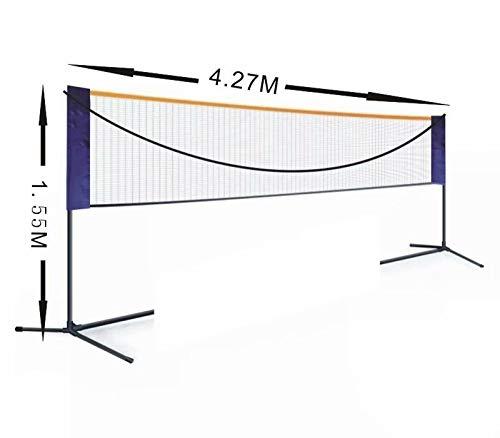 Xinhengchen Badmintonnetz für Außen- und Innenplätze, Hinterhof, Strand Easy Setup Badminton-Set mit Tragetasche für Erwachsene Kinder Volleyball, Tennis tragbares Netz Medium 4.27 * 1.55m