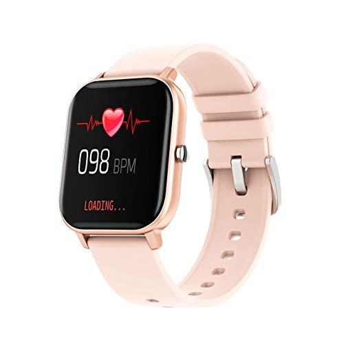 AIREQN IP67 P8 Inteligente Reloj Pulsera de Mujeres de los Hombres del Reloj del Monitor del Ritmo cardíaco del Deporte del sueño Monitor de SmartWatch Rastreador (Color : Gold)