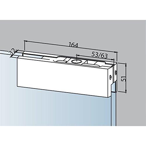 Oberer Eckbeschlag DORMA PT 20 mit Kunststoffbuchse, Alu silber eloxiert (03.110)   Glastürbeschlag - Zubehör dormakaba