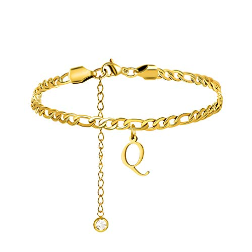 Yiyang Initial Big Letter Anklets for Women Teen Girls Daughter Wife Monogram Anklet 316L Stainless Steel 18K Gold Plated Personalized Minimalist Birthday Vacation Holiday Beach Jewelry