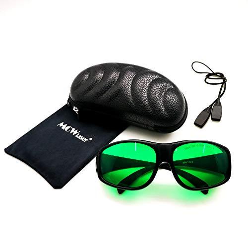 MCWlaser Gafas protectoras de seguridad láser Gafas 190-470 y 610-760 nm Típico para 355nm 405nm 447nm 450nm 406nm 460nm 635nm 650nm 655nm 671nm 694nm 750nm 755nm Tipo de absorción EP-13 Estil