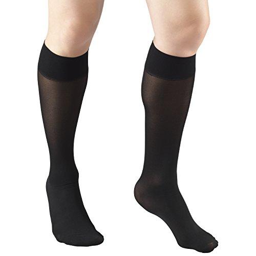 Truform Sheer Compression Stockings, 8-15 mmHg, Women's Knee High Length, 20 Denier, Black, Medium