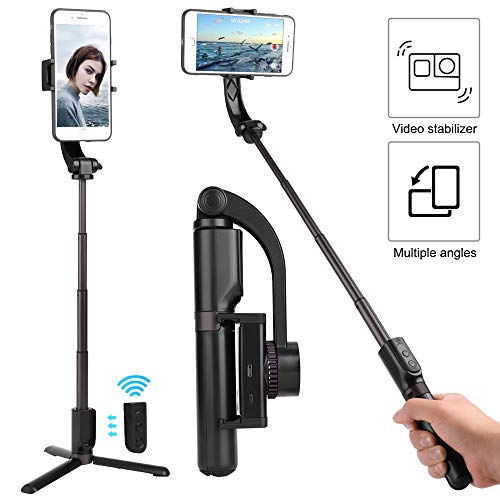 Single Axis Gimbal Stabilizer Selfie Stick Tripod Video Stabilizer for Cell Phone, One Axis Video Stabilizer for Galaxy S10+, S9+, Compatible with iPhone 11 Pro Max, iPhone Xs Max (Black and Grey)