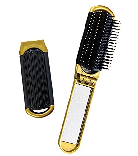 2 GOLD ALAZCO Folding Hair Brush With Mirror Compact Pocket Size Travel Car Gym Bag Purse Locker