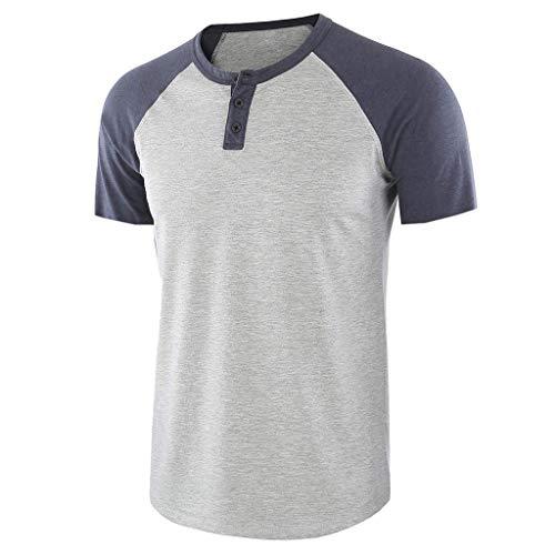 Mode Chemise FNKDOR Hommes À Manches Longues T-Shirts O-Cou Solide Chemises Patchwork Tops Blouse(C Argent,XL)