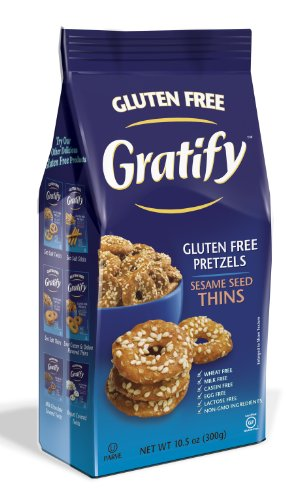 Gratify Gluten Free Pretzel Thins Sesame Seed Vegan GF Pretzel Crisps, 10.5oz Bag (Pack of 6)