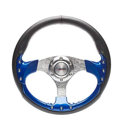 Simoni Racing SR EST330P Volant Sport, Cuir Noir/Bleu, 320 mm