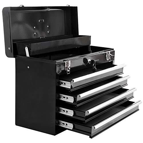 Boite à outils métallique coffret à outils caisse à outils 4 tiroirs + plateau tôle acier noir
