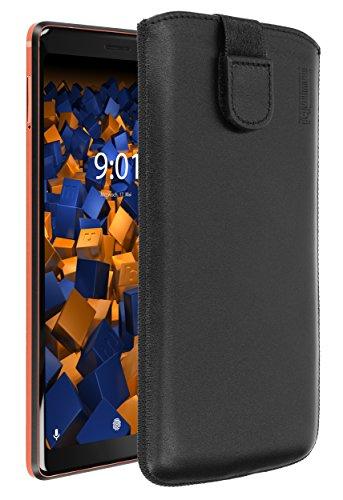 Preisvergleich Produktbild mumbi Echt Ledertasche kompatibel mit Nokia 7 Plus Hülle Leder Tasche Case Wallet,  schwarz