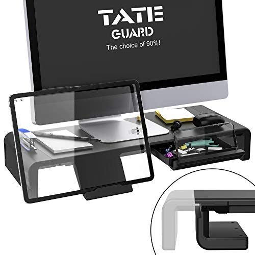 Faltbarer Monitorständer Riser TATEGUARD Computer Monitorständer mit Verstellbarer Breite kompatibel mit i'Mac Drucker Laptop mit Aufbewahrungsschublade Tablet & Handyständer Halter Schwarz
