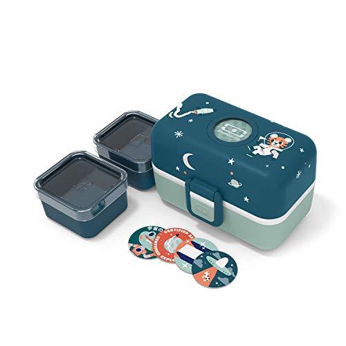 monbento - MB Tresor blau Cosmic Brotdose Tiger Kinder mit Trennwand - Bento Box Kids mit Fächer - Individuell Gestaltbar - Snack Box