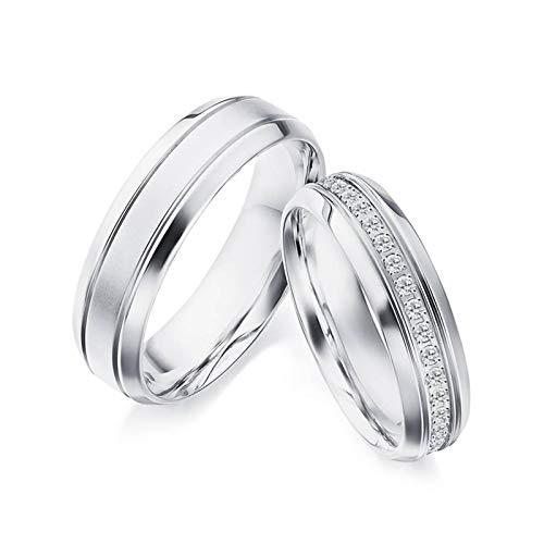 Daesar 18 Karat Weißgold Ringe Verlobung Damen Herren Matt Linie Breit 5.1MM 5.9MM Trauringe Weißgold mit Diamant 0.23ct Echt Damen Gr.50 (15.9) & Herren Gr.58 (18.5)