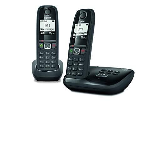 Gigaset AS470A Duo - Teléfono (Teléfono DECT, Terminal inalámbrico, Altavoz, 100 entradas,...