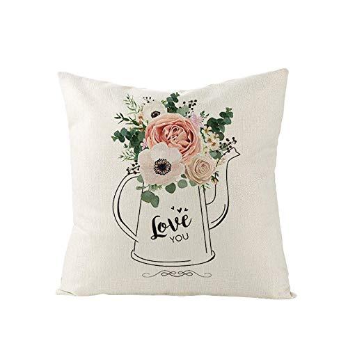 MUzoo Día de San Valentín Impreso romántico Funda de Almohada Sofá Cubierta de cojín Cubierta de Almohada Sobrevivió Familia Cuadrado Pillowcase Decoración para el hogar para Festival (Color : 8#)