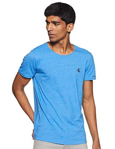 Calvin Klein Jeans Herren Grindle Raw Edge Tee T shirt, Blau (Coastal Blue C2o), Medium