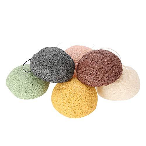 Esponja Konjac, 6 unidades, color de gotas de agua y redondas, 100% natural, Konjac Wash Face Flutter, para el cuidado facial natural (secas) (redonda)