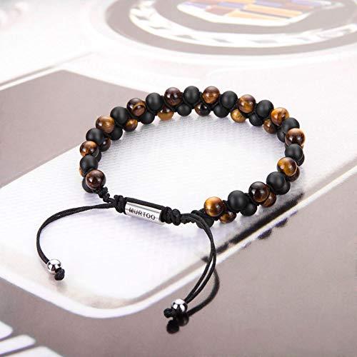 murtoo Mens Lava Rock Bracelet, Tiger Eye Bead Bracelet for Men Natural Stone Yoga Essential Oil Bracelets for Gift (7.3″, Black Bead-Tiger Eye Stone 6mm)