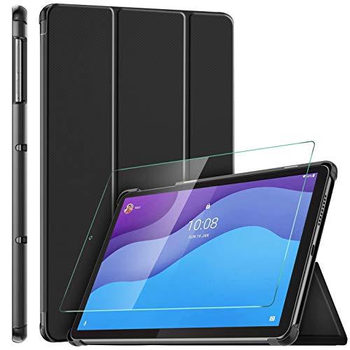 ELTD Funda + Película templada [combinación] para Lenovo Tab M10 HD (2ª generación) TB-X306X / TB-X306F, Fundas Duras Case + Vidrio Templado Glass Film para Lenovo Tab M10 HD 10.1 2020
