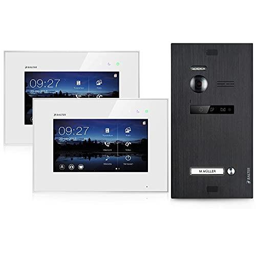 BALTER EVO Video Türsprechanlage ✓ Touchscreen 7 Zoll Monitor ✓ 2-Draht BUS ✓ Türstation für 1 Familienhaus Türklingel ✓ 150° Weitwinkel-Kamera ✓ Schwarz (2 Monitore, Ohne App)