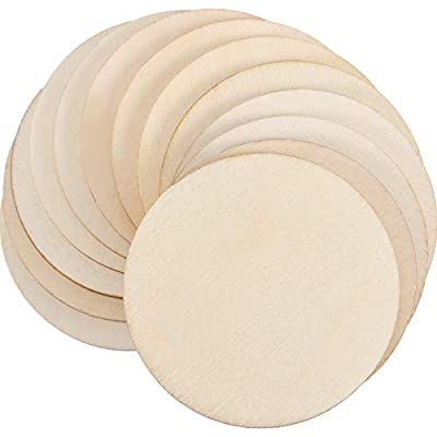 Boao 100 Packs 2 Inch Round Disc Unfinished Wood Circle Wood Pieces Wooden Cutouts Ornaments for Craft Supplies, Decoration, Laser Engraving Carving