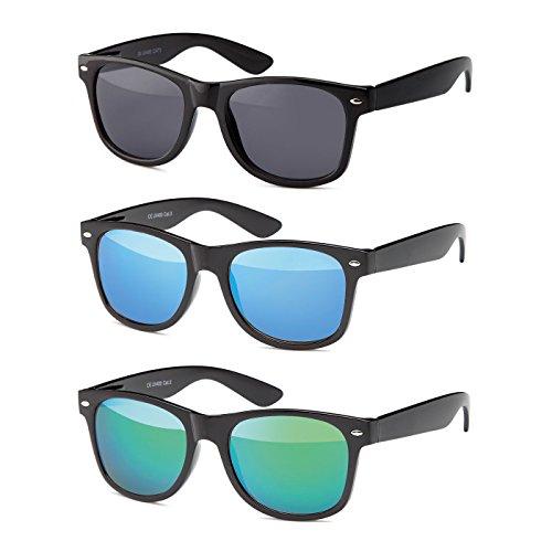 MOKIES Unisex Sonnenbrillen - UV400 Filterkategorie 3 CE Kennzeichnung - Polycarbonat - mit Federscharnier - A-SET Grau, Blau, Grün