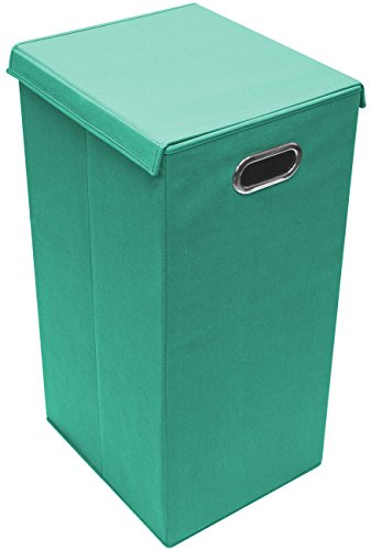 Sorbus Laundry Hamper Sorter with Lid Closure – Foldable Hamper, Detachable Lid, Portable Built-in Handles for Easy Transport – Single (Single, Teal)