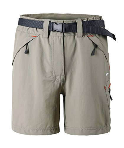 MIER Women's Outdoor Shorts for Hiking Camping Travel, Zipper Pockets, Water-resistant, Rock Grey, M
