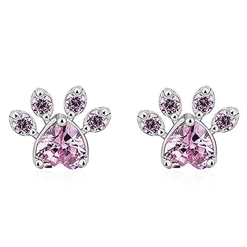 XAOQW Moda Lindo uña de Gato Pendientes de Oso y Perro Garra de Color Rosa Pendientes de Garra Pendientes de Damas joyería-Revestimiento de Plata
