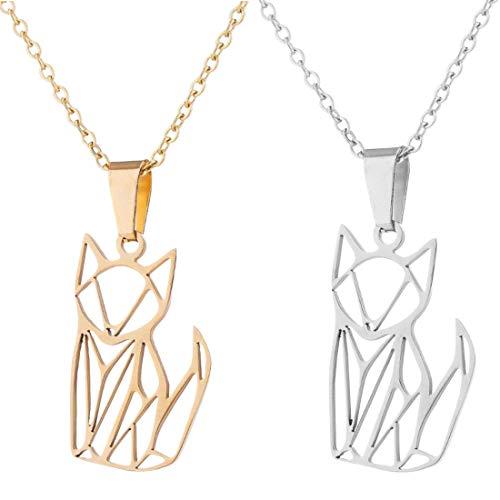 YUESEN Fuchs Halskette Elegante Halskette 2PCS Origami Edelstahl Silber vergoldet Anhänger Kette Halskette Anhänger Frauen Männer Mädchen