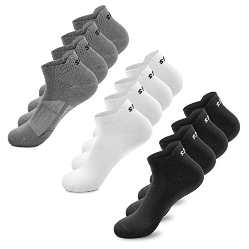 Sneaker Socken Herren Damen 6|12 Paar Kurze Baumwollsocken Sportsocken tennissocken Schwarz Weiß Bunte(Schwarz x4|Weiß x4|Graux4,43-46)