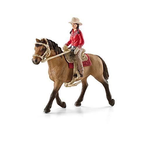 Schleich - Figura Amazona Vaquera con Caballo, 18 cm