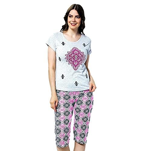 Rodano Rosa Pijama Mujer Pirata Pijama Dos Piezas Pijama Camiseta Manga Corta y pantalón Pirata Pijama algodón de Primavera y Verano.